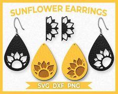 Diy Leather Earrings, Wood Earrings, Diy Earrings, Leather Jewelry, Flower Earrings, Leather Projects, Leather Crafts, Sunflower Flower, Topper