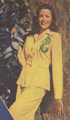 1940s yellow suit dress jacket skirt dragon embroidered shoulder color photo print ad vintage fashion War Era WWII Just Skirts and Dresses