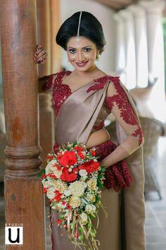 Grey with Maroon Combination Designer saree Designer Sarees Wedding, Saree Wedding, Bridesmaid Saree, Bridesmaids, Sri Lankan Bride, Saree Jacket Designs, Floral Print Sarees, Saree Jackets, Red Wedding Dresses