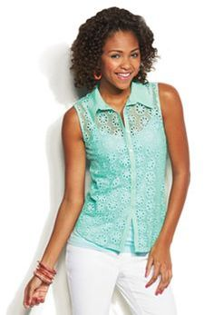 Candie's Openwork Button-Front Top, cute top !love the color