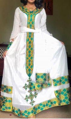 Ethiopian Wedding Dress, Ethiopian Dress, Ethiopian Traditional Dress, Traditional Dresses, Habesha Kemis, Modern Closet, African Wear, Bridesmaid Dresses, Wedding Dresses