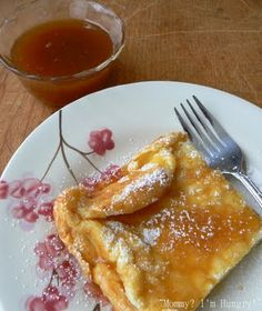 German Pancakes with Buttermilk sauce ~ Served with a buttermilk, caramel-y sauce.The flavor reminded me of a baked custard dessert, but not too eggy.