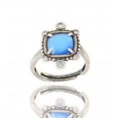 Sortija Retro Piedra Azul en Plata/ Backward-Looking Ring in Silver with Blue Stone 26€