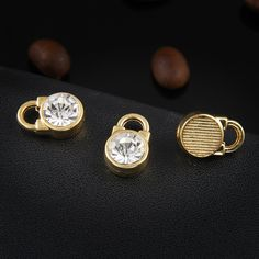Gold key lock floating charms pendant round bling crystal rhinestone charm craft  DIY Jewelry fit bracelet 66f215e104c8