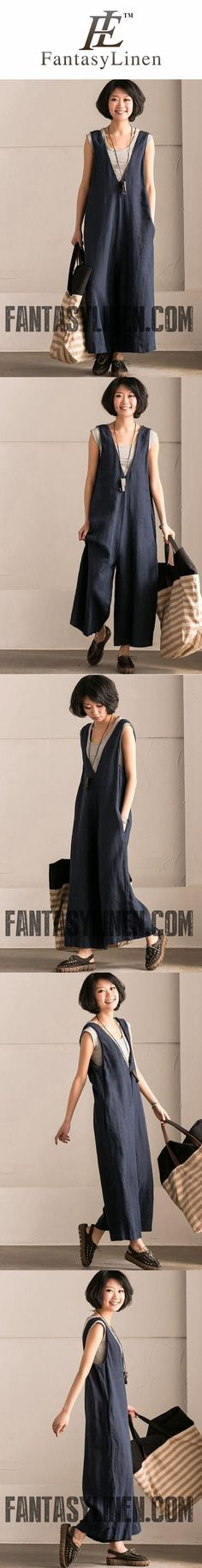 BLUE V-NECK CAUSAL COTTON LINEN OVERSIZE OVERALLS WOMEN CLOTHES K289BG