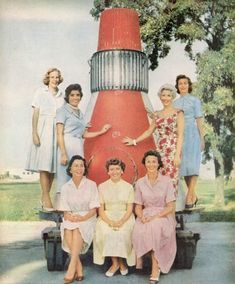In 1959, the wives of the Project Mercury astronauts pose for a photo.