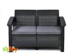 Corfu Love Seat All Weather Outdoor Patio Grey Garden Furniture