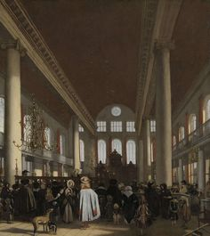 Interieur van de Portugese synagoge te Amsterdam, Emanuel de Witte, 1680