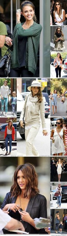 Jessica Alba style - I like all these looks for fall!
