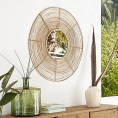 Sink into a new look country style with this ARGOS round rattan mirror. The frame gives it a modern touch as well as a really organic flavour. This contemporary rustic side means it fits in perfectly with a warm interior where nature is all around Dining Room Bench Seating, Living Room Chairs, Small Furniture, Furniture Decor, Wooden Furniture, Sun Lounger Cushions, Unique Mirrors, Parasols, Home Scents