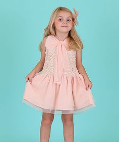 Look at this Dolce Liya Peach Lace Bow Mandala Dress - Girls on #zulily today!