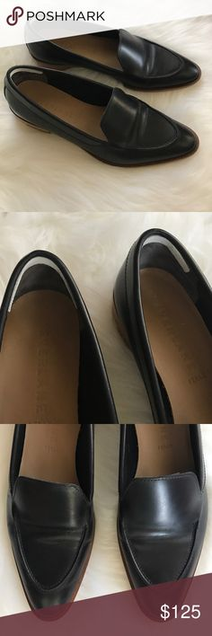 Everlane Modern Loafer Black Leather 8.5 Worn twice! These are in excellent condition but do show creasing on the uppers. The soles have really light wear. These were worn to and from the office. I put in thin Leather heel grips (see pics) to help with slippage and heel rubbing. Everlane recommends to size up in this style so an 8.5 would be for an 8 (which is what I wear). Fit is narrow. This shoe is so cute but it's just not for me. Will come in original shoe box. Everlane Shoes Flats…