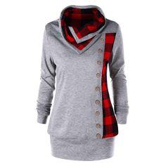 cba1fa741b0 AZULINA Plus Size Plaid Buttons Women Sweatshirt Cowl Neck Long Sleeve Hoodies  Sweatshirts 2018 Casual Ladies Tops Pullovers 5XL