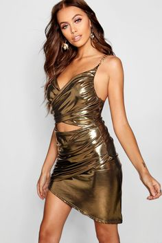 Paris Hilton Metallic Cut Front Chain Detail Dress from Boohoo, part of our latest Paris Hilton x boohoo collection
