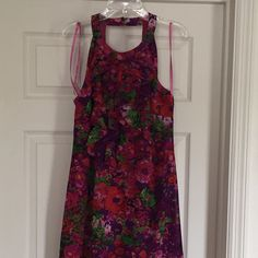 Beautiful Pink/Purple/Green Floral Summer Dress