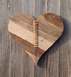 Wooden Crafts Driftwood heart - really like the hearts sewn together theme here for mending hearts! Pallet Art, Diy Pallet Projects, Wood Projects, Woodworking Projects, Wooden Art, Wooden Crafts, Wood Wall Art, Driftwood Crafts, Heart Decorations