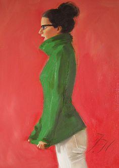 Kelly Girl Original Oil Painting by janethillstudio on Etsy, $260.00
