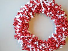 Valentine's Day Wreath Using Curled Grosgrain Ribbon. Later add a little bule for Memorial day and 4th of July