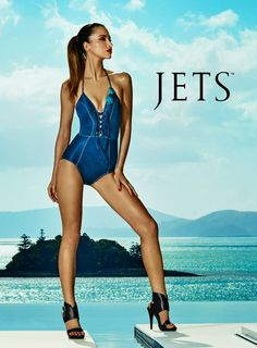 edd0d50a55bea Dive into summer with this V-neck one-piece swimsuit in daring denim.