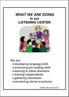 What We Are Doing Sign: Listening Center - A list of listening center objectives.