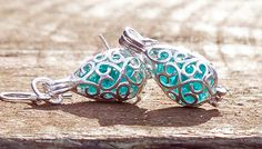 Silver Filigree and Recycled Mason Jar Glass Earrings - recycled glass jewelry