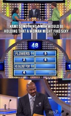 """The 22 Best Reactions From Steve Harvey On """"Family Feud"""" -- HILARIOUS.  His baloney pony?  REALLY?!"""