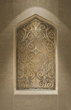 Tableaux® Faux Iron and Veneer decorative grilles allow for unlimited options for wall/niche decor. Personalize niches or any residential wall space with Niche Decor, Art Niche, Alcove Decor, Alcove Ideas, Wrought Iron Wall Decor, Wooden Wall Decor, Iron Decor, Wood Wall, Metal Walls