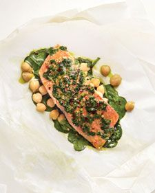 An herb paste enhances the salmon and the built-in sides -- spinach and chickpeas -- that bake with the fish.