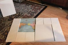 "Canvas map wall decor. ..You could use ""used"" canvas from thrift store/yard sales"