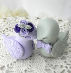 Love Birds Wedding Cake Topper, Lilac, Purple and Sage Green, Bride and Groom…