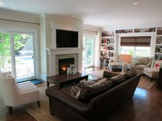 Contemporary Great Room with Carpet, Hardwood floors