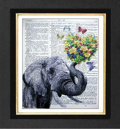 Elephant  First Date ORIGINAL ARTWORK  Mixed by sherryannshop, $10.00