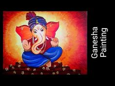 I have painted a Cute Ganesha Painting . Hope you will like & share it and try to do it yourself. : Flat Brush No - Round Brush No Lord Ganesha Paintings, Ganesha Art, Krishna Painting, Tanjore Painting, Acrylic Painting On Paper, Acrylic Painting Tutorials, Painting Videos, Acrylic Canvas, Oil Pastel Drawings