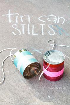 Easy tin can stilts tutorial via @Lolly Jane {lollyjane.com}