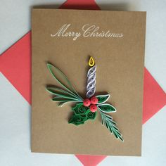 Quilled Navidad tarjeta conjunto de 5 por OlygamiCrafts en Etsy