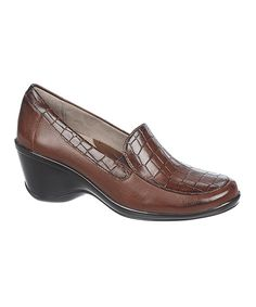Look at this Naturalizer Brown Scale Embossed Irwin Leather Loafer on #zulily today!