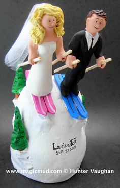 Skiing Wedding Cake Topper Wedding Cake Topper for Skiers , custom created for you! Perfect for the marriage of a Skiing Groom and his Bride! $235 #magicmud 1 800 231 9814 www.magicmud.com