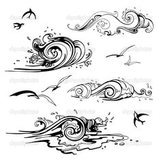 Find Sea Waves Set Hand Drawn Vector stock images in HD and millions of other royalty-free stock photos, illustrations and vectors in the Shutterstock collection. Tattoos, Vector Illustration, Art Tattoo, Drawings, Wave Drawing, Art, Draw, How To Draw Hands, Hand Drawn Vector Illustrations