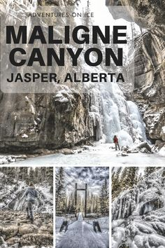 Hiking the Maligne Canyon in the winter, Jasper National Park, Canada.