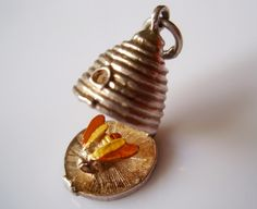 Vintage sterling silver beehive & enamel bee charm