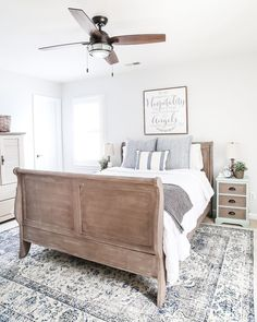 Painted Weathered Wood Bed Makeover | http://blesserhouse.com - A thrifted bed gets a painted weathered wood Restoration Hardware look with no messy furniture stripping and in 3 quick steps.