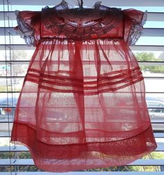Vintage Castro & Co. White Lace & Coral Organdy Baby Girl Dress 12 Months