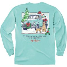 Lily Grace Teal Christmas Long Sleeve T-Shirt ($37) ❤ liked on Polyvore featuring tops, t-shirts, light blue, women's clothing, light blue long sleeve shirt, christmas t shirts, blue shirt, long sleeve shirts and checkered shirt