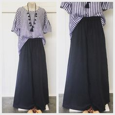 Classic navy and white always stylish. French navy linen pants size 12-$95.00 and Billie top size small $90.00. . . . . . . #navy…