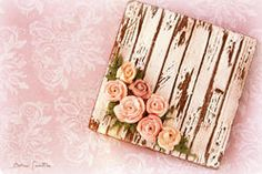 Shabby Chic Cookie: White-washed Wood Grain with flowers Pastel Pink-hued Roses Cookies Shabby Chic, Fancy Cookies, Vintage Cookies, Valentine Cookies, Iced Cookies, Cute Cookies, Royal Icing Cookies, Cookies Et Biscuits, Cupcake Cookies