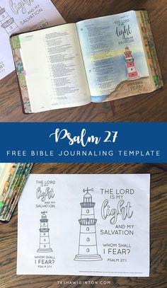 Easy Bible Journaling With Free Psalm 27 Template – Tasha Wiginton Psalm 27, Bible Psalms, Bible Prayers, Bible Journaling For Beginners, Bible Study Journal, Scripture Study, Bible Art, Art Journaling, Scripture Journal