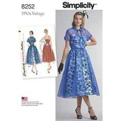 Simplicity's retro special occasion dress from the 1950s includes Redingote with gathered full skirt, fitted bodice, Peter Pan collar, short kimono sleeves with narrow cuffs, self-fabric bow-ties that trim the bodice front, and a narrow shoulder strap dress with low décolletage and full gathered skirt. Dress has optional lace trim on skirt and neckline.