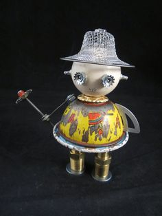 Hey, I found this really awesome Etsy listing at https://www.etsy.com/listing/235702034/flower-bot-found-object-robot-sculpture