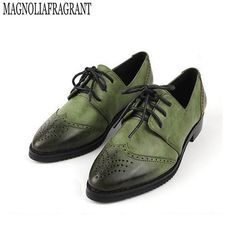 Good Price $24.99, Buy Women Platform Oxfords Brogue Leather Flats Lace Up Shoes Pointed Toe Creepers Vintage female moccasins loafers women shoes z276
