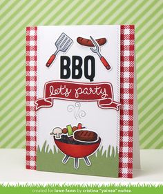 """Lawn Fawn Let's BBQ Card by Cristina """"Yainea"""" Nuñez."""